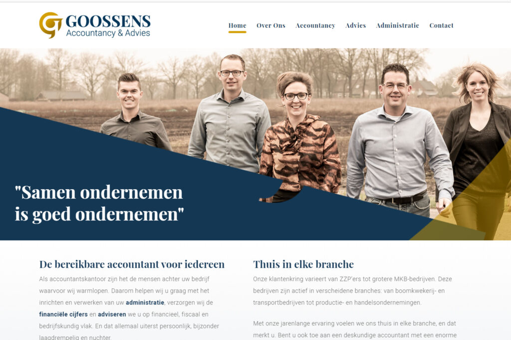 Webtekst voor Goossens Accountancy en Advies Sprundel - Conntext