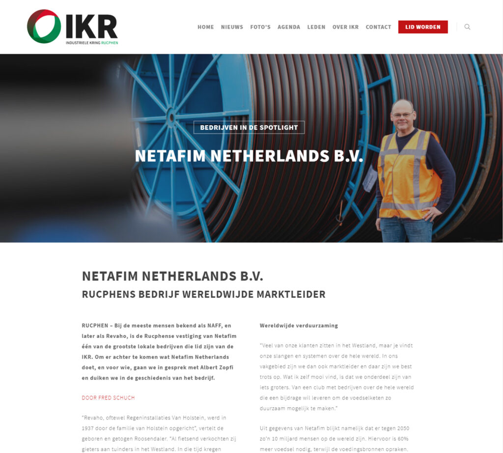 Blogs voor IKR over Netafim - Conntext