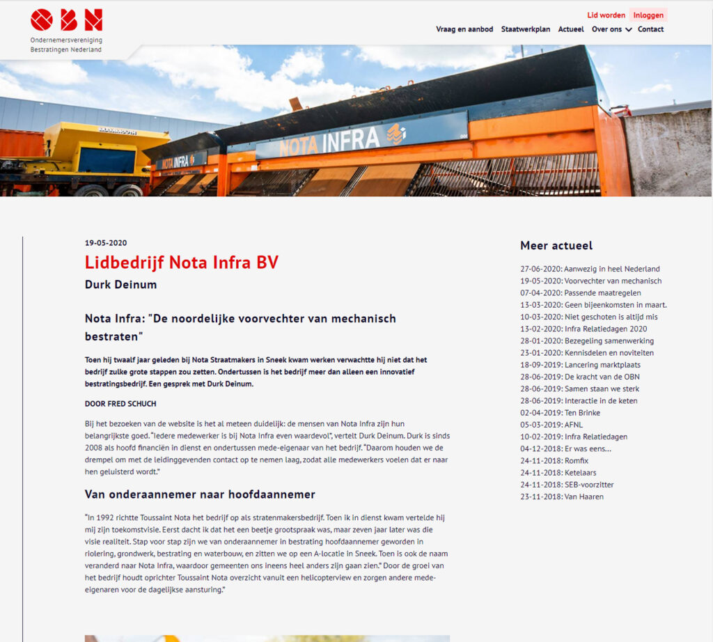 Blogs voor OBN over Nota Infra - Conntext