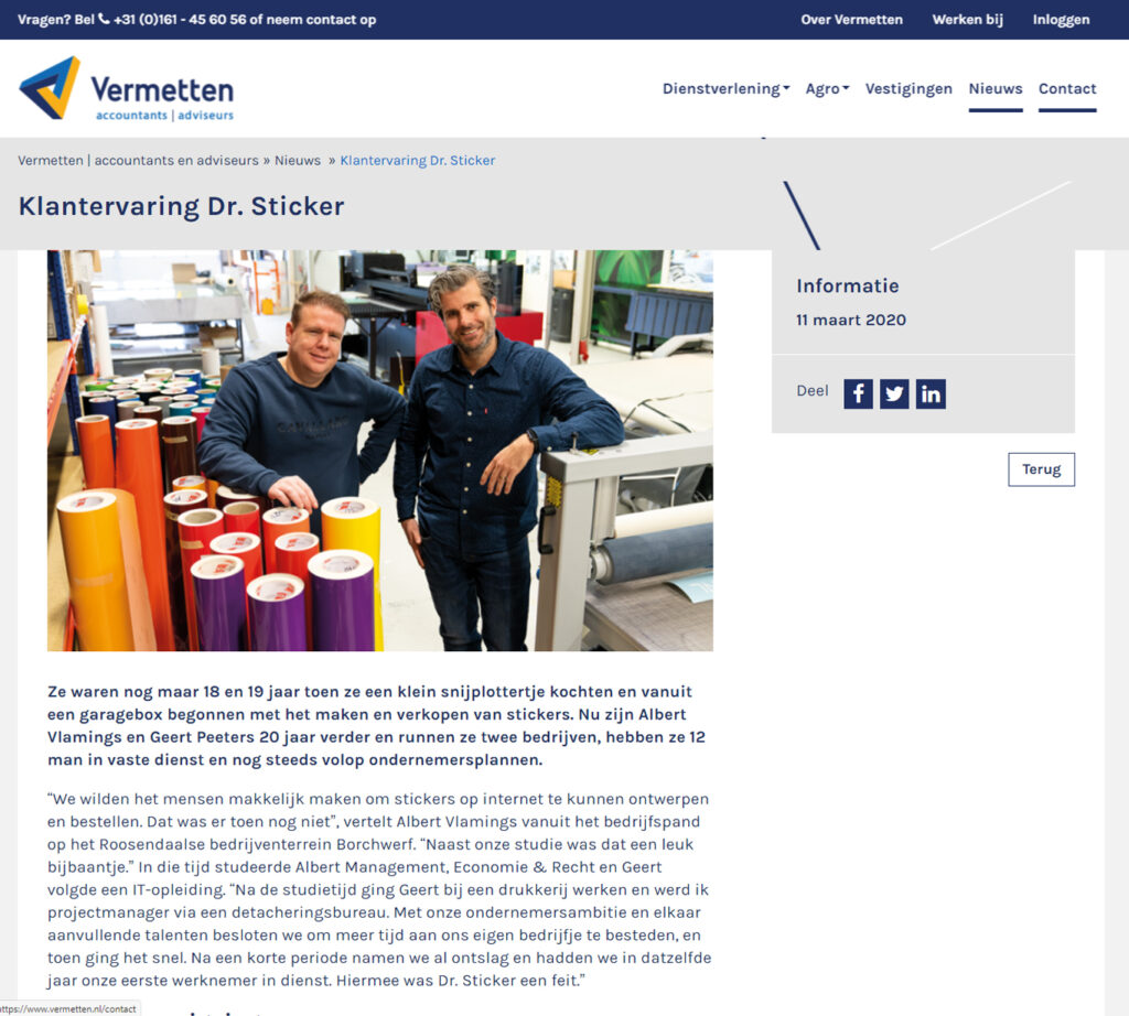 Blogs voor Vermetten over Dr Sticker - Conntext